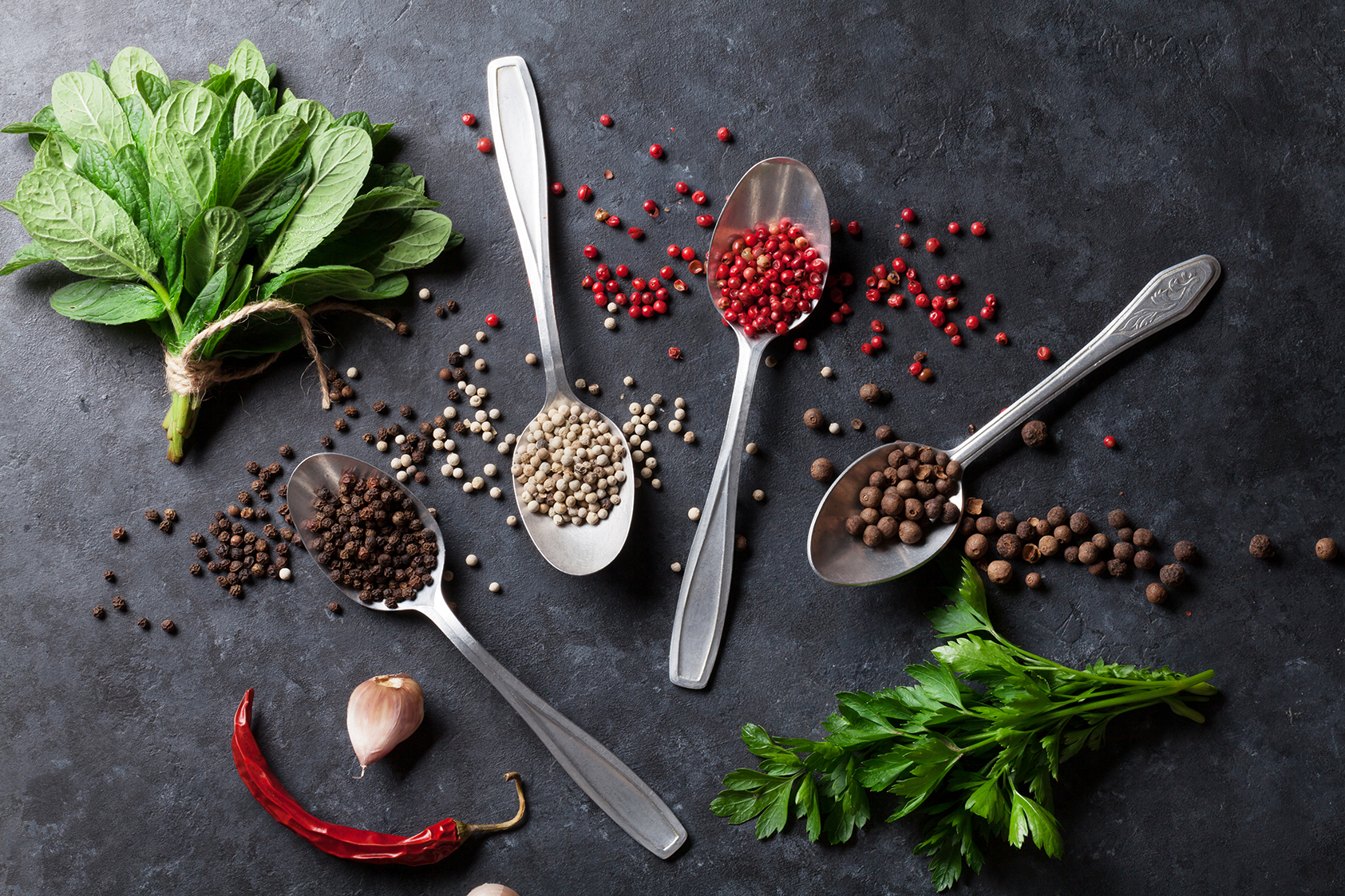 Background image of assorted herbes and spices